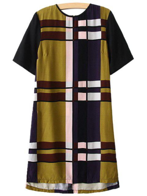 trendy Checked Short Sleeve Dress - COLORMIX M Mobile