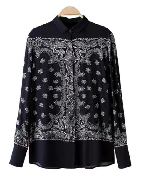 best Retro Print Long Sleeves Shirt - BLACK M Mobile