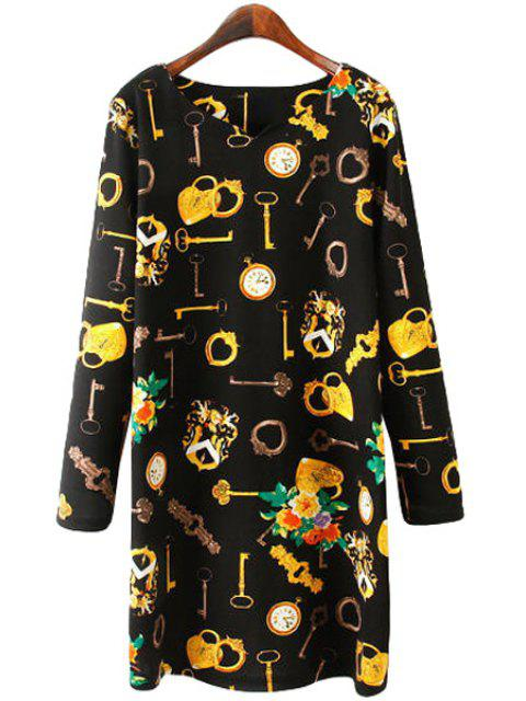 best Key Print Long Sleeve Dress - BLACK L Mobile
