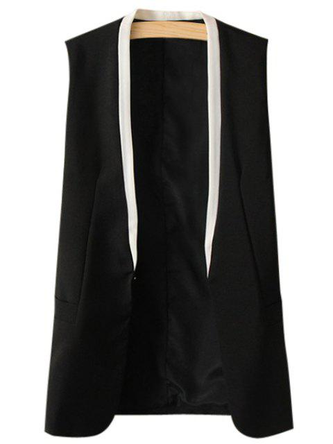 outfit Collarless Color Block Waistcoat - BLACK L Mobile