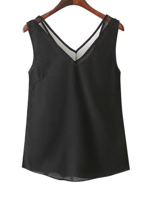 affordable Solid Color V-Neck Tank Top - BLACK M Mobile