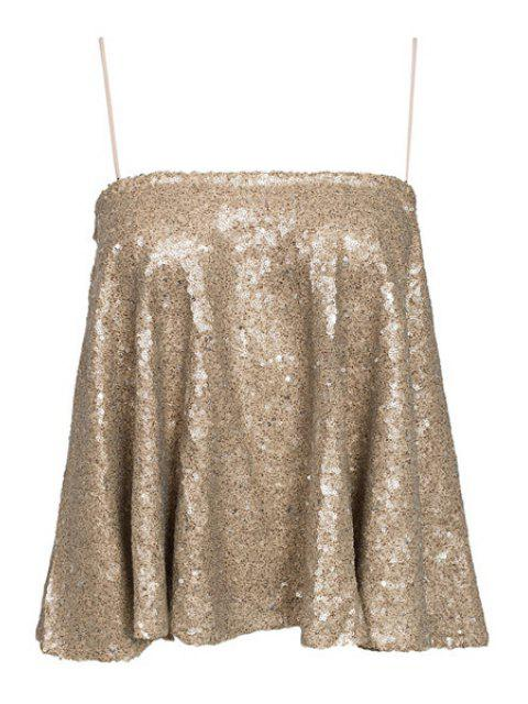 online Spaghetti Strap Sequins Tank Top - GOLDEN XS Mobile