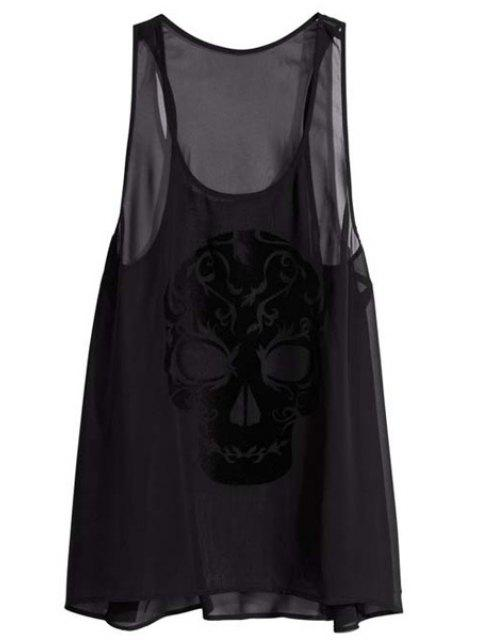 ladies Solid Color Skulls See-Through Tank Top - BLACK XS Mobile