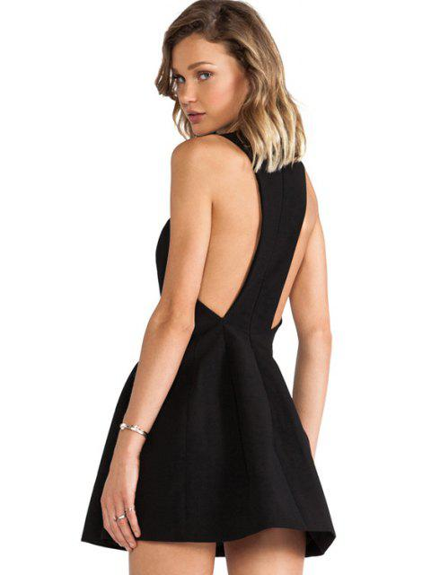 outfits Solid Color Backless Sleeveless Dress - BLACK XS Mobile