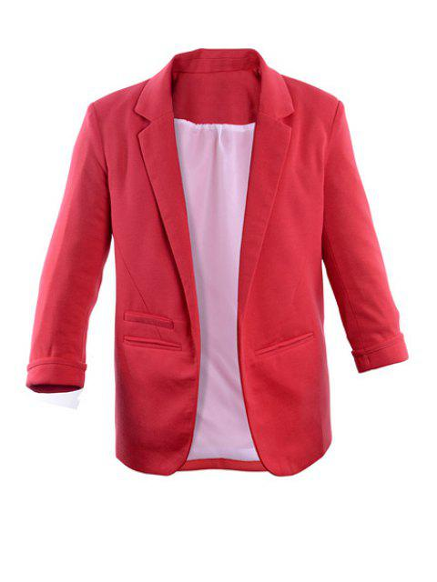 outfits Lapel Solid Color 3/4 Sleeve Blazer - PEACH RED XL Mobile