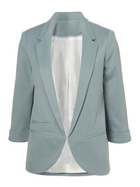 best Lapel Solid Color 3/4 Sleeve Blazer - LIGHT BLUE 2XL Mobile