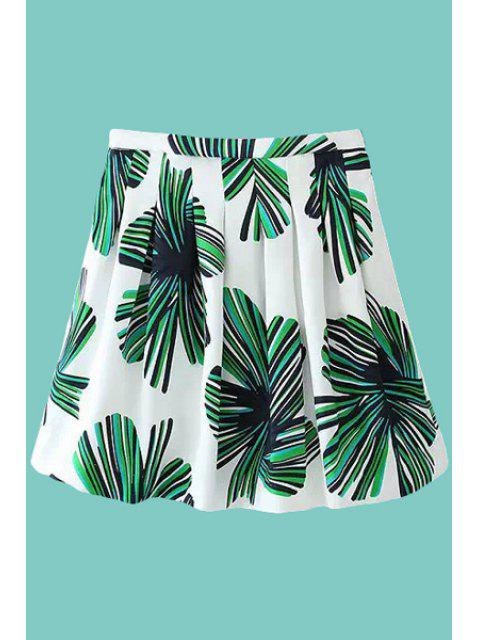 womens Color Block Leaves Print Skirt - WHITE AND GREEN S Mobile