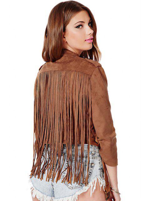 fashion Solid Color Fringe Jacket - BROWN L Mobile
