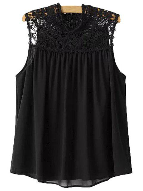 womens Lace Splicing Solid Color Sleeveless Blouse - BLACK S Mobile