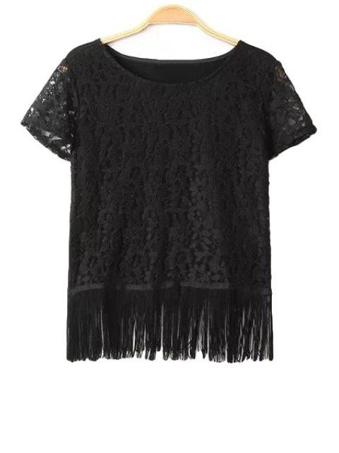 womens Solid Color Fringe Splicing Lace T-Shirt - BLACK S Mobile