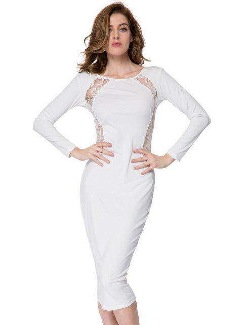 shops Lace Splicing Bodycon Dress - WHITE L Mobile
