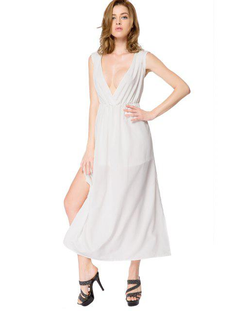 lady White Side Slit Backless Dress - WHITE M Mobile