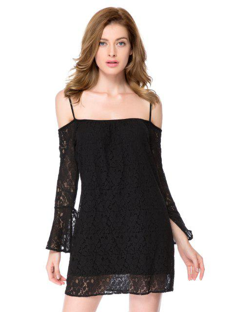 fancy Spaghetti Straps Black Lace Dress - BLACK L Mobile