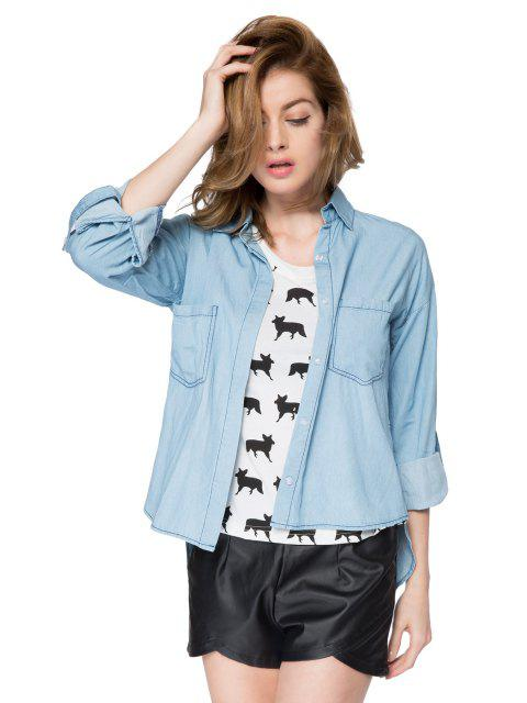 fashion Solid Color Denim Shirt - BLUE L Mobile