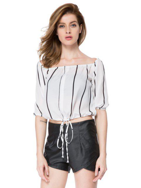 lady Striped Slash Neck Blouse - STRIPE M Mobile