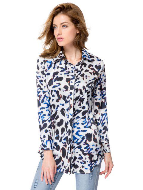 lady Shirt Collar Leopard Print Shirt - LEOPARD M Mobile