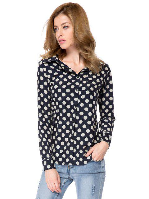 latest Shirt Collar Polka Dot Print Shirt - WHITE AND BLACK 2XL Mobile