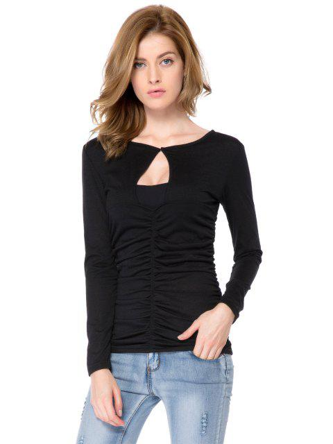 women Solid Color Ruched Long Sleeve T-Shirt - BLACK M Mobile