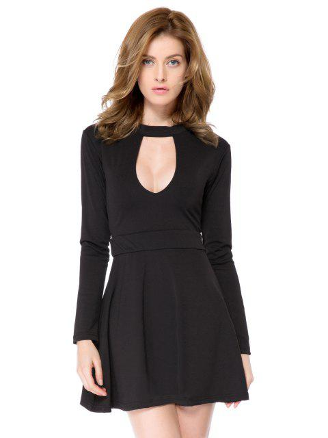 trendy Black Long Sleeve Cut Out Dress - BLACK 2XL Mobile