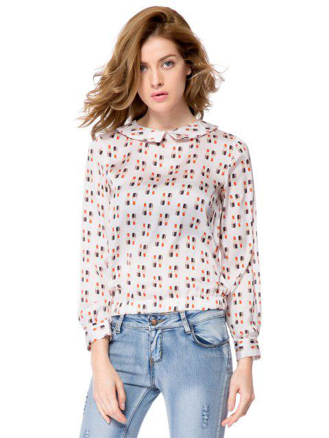 trendy Lipstick Print Long Sleeve Blouse - OFF-WHITE M Mobile