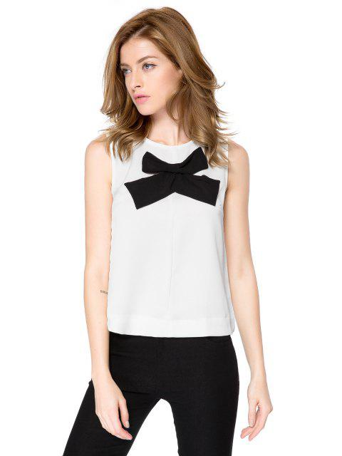 affordable Bowknot Pattern Tank Top - WHITE M Mobile