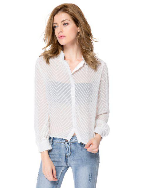 buy Striped Single-Breasted Back Blouse - WHITE M Mobile