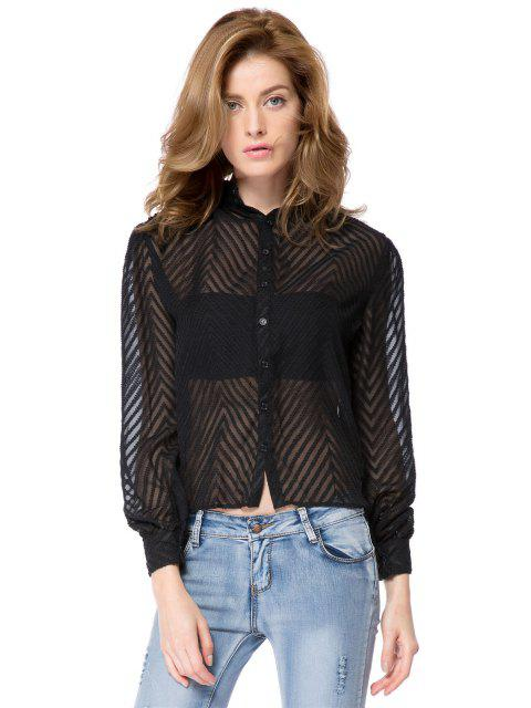 online Striped Single-Breasted Back Blouse - BLACK S Mobile