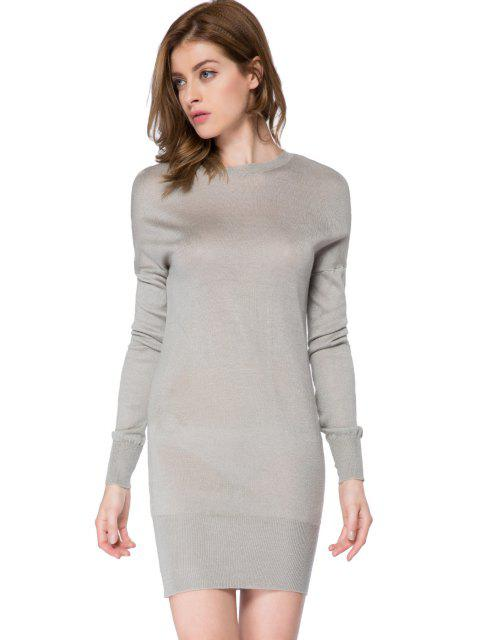 women's Bowknot Embellished Long Sleeve Dress - GRAY L Mobile