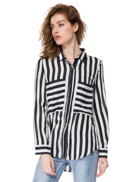 online Striped Double Pockets Shirt - STRIPE XS Mobile