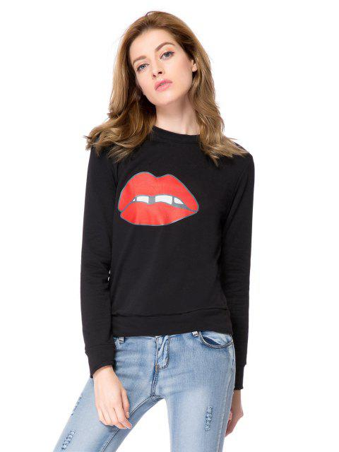 womens Long Sleeve Lip Print Sweatshirt - BLACK L Mobile