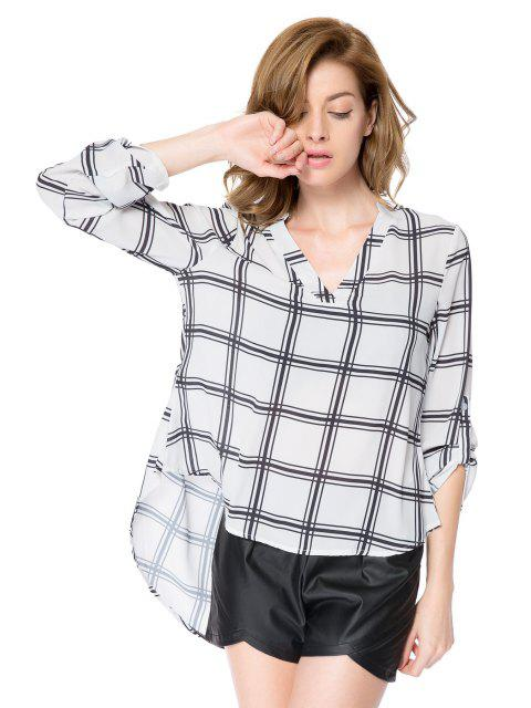 womens V-Neck Plaid Pattern Blouse - CHECKED XS Mobile