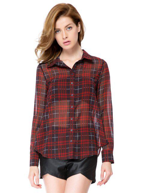 shop Red Plaid Long Sleeve Shirt - CHECKED M Mobile