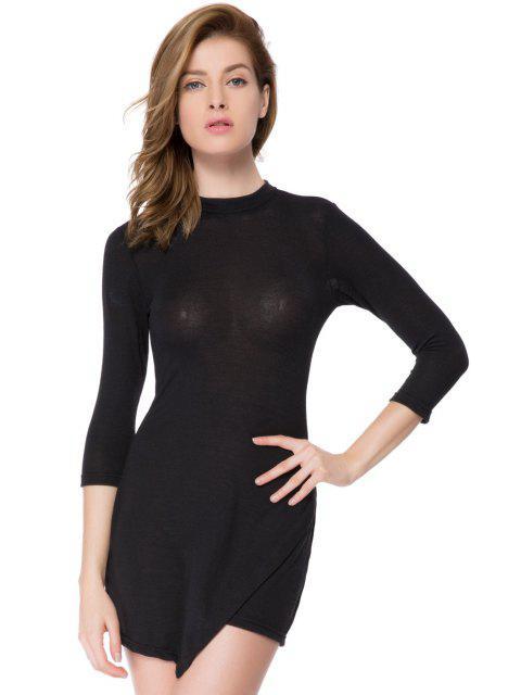 shop Bodycon 3/4 Sleeve Black Dress - BLACK M Mobile