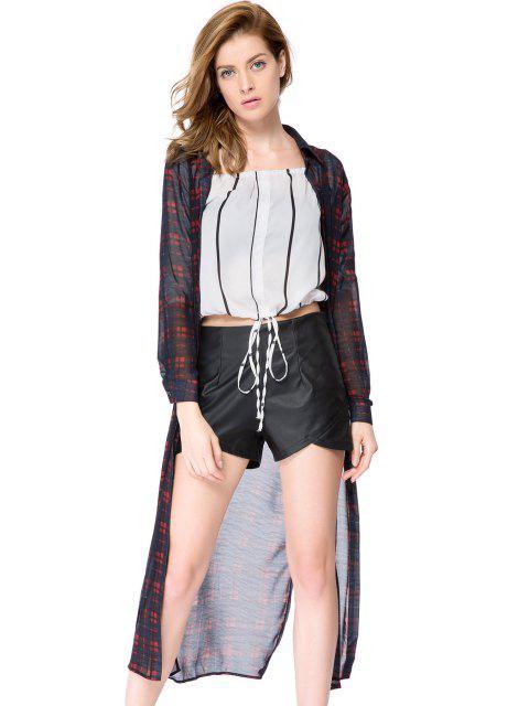ladies Plaid Long Sleeve Maxi Shirt - CHECKED S Mobile