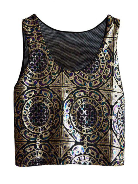 womens Ethnic Pattern Sequins Tank Top - BLACK ONE SIZE(FIT SIZE XS TO M) Mobile