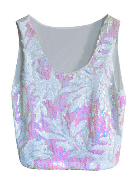 fancy White Leaf Sequins Tank Top - WHITE ONE SIZE(FIT SIZE XS TO M) Mobile
