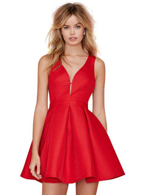 women's Solid Color Back Zipper Dress - RED S Mobile