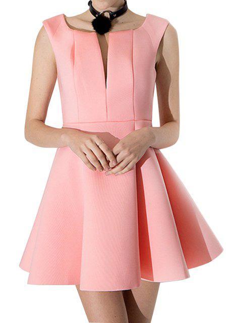 women V-Neck Solid Color A-Line Dress - PINK S Mobile