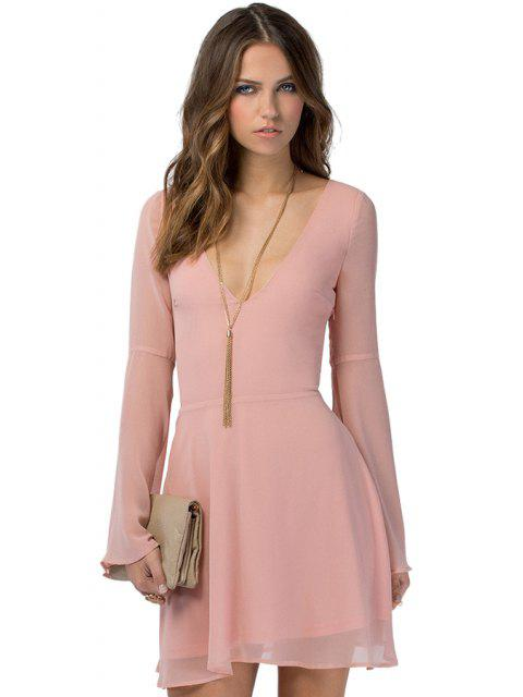 hot Solid Color Flare Sleeve Chiffon Dress - PINK 2XL Mobile