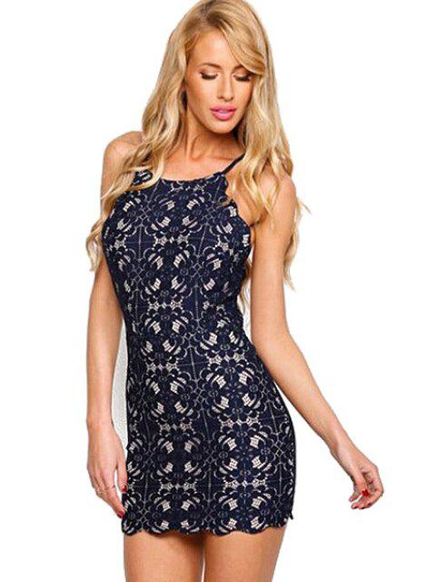 fancy Spaghetti Strap Tie-Up Lace Dress -   Mobile