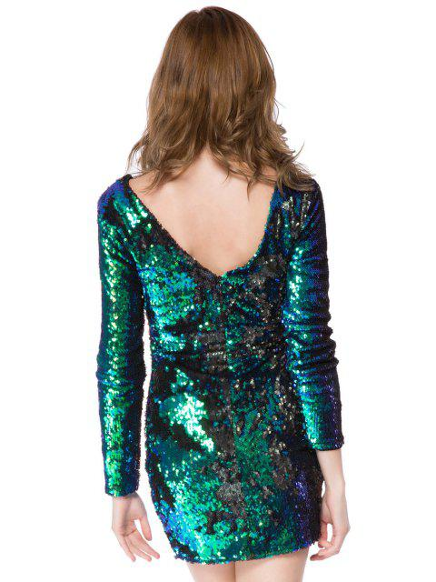 lady Sequins Long Sleeve Bodycon Dress - GREEN XL Mobile