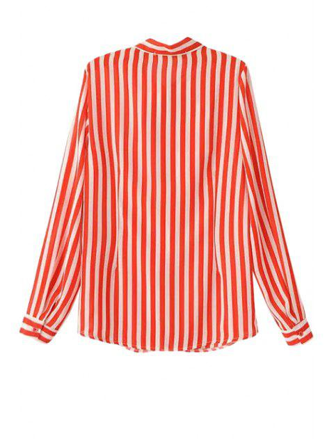 womens Stripe Tie-Up Long Sleeve Shirt - RED S Mobile
