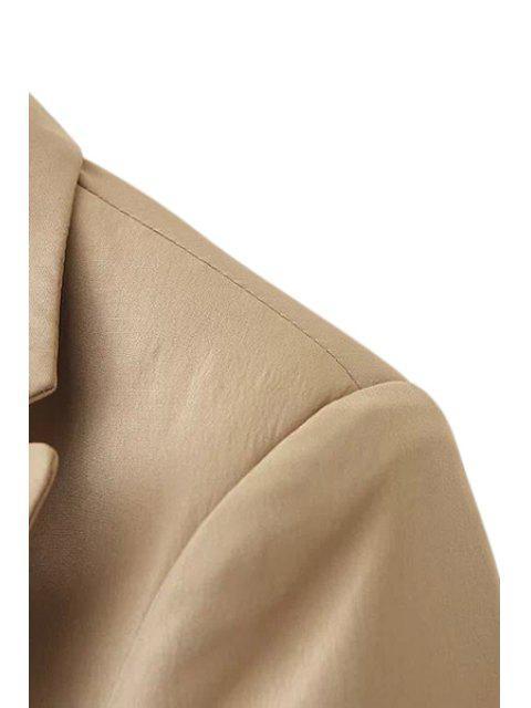 online Solid Color Pockets Blazer - KHAKI S Mobile