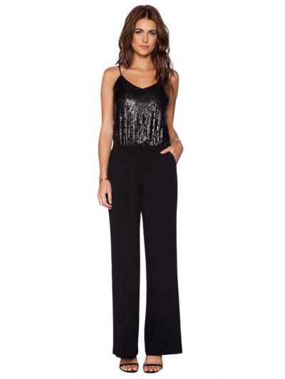 591f1c94b682 29% OFF  2019 Spaghetti Straps Sequins Jumpsuit In BLACK