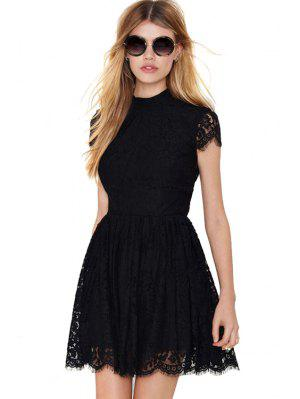 Solid Color Backless Lace Dress