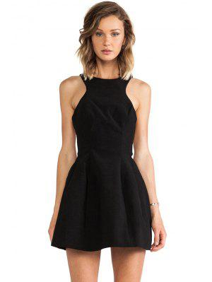 Color del vestido sin espalda A-Línea sólida