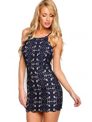 Spaghetti Strap Tie-Up Lace Dress
