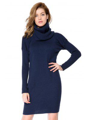 Solid Color With Scarf Sweater Dress - Cadetblue M