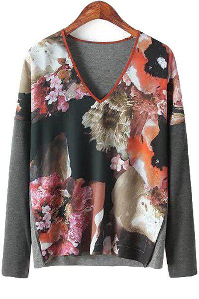 Splicing Floral Print Long Sleeve Shirt 122253801