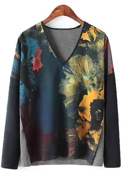 Splicing Floral Print Long Sleeve Shirt 122253805